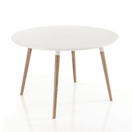 Mesa extensível de jantar de madeira, com tampo branco Ian