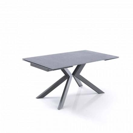 Mesa extensível de design em vidro e metal - Piersilvio