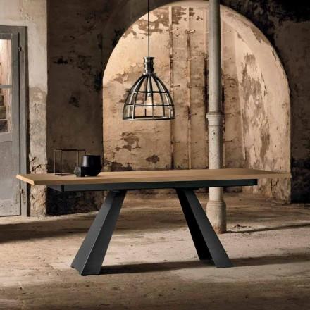Mesa extensível lateralmente moderna em madeira de carvalho fabricada na Itália, Zerba