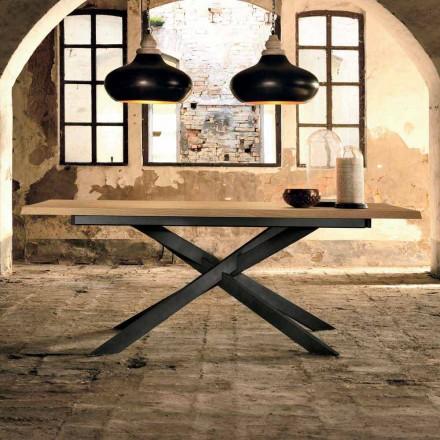 Mesa extensível de design em madeira de carvalho fabricada na Itália, Oncino