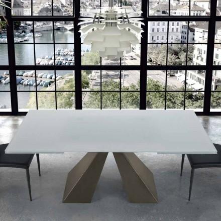 Mesa extensível moderna em vidro e aço 14 assentos fabricados na Itália - Dalmata