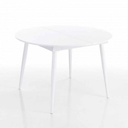 Mesa de jantar extensível redonda em branco Mdf - Ismaele