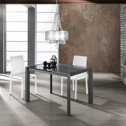 Moderna mesa de jantar extensível feita de vidro temperado Zeno