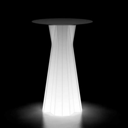 Mesa alta para exterior com base luminosa e tampo Hpl Made in Italy - Tinuccia