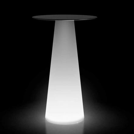 Mesa alta para exterior com luz LED em HPL e polietileno Made in Italy - Forlina