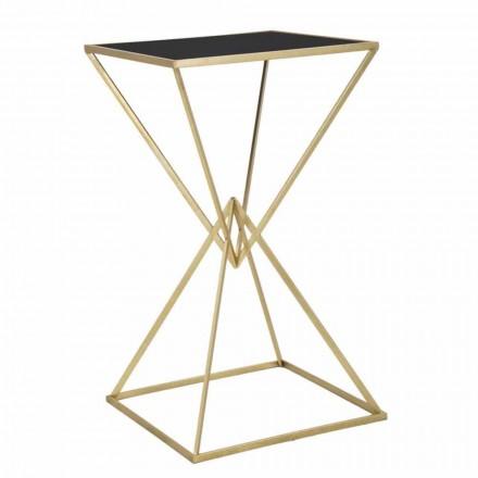 Mesa de bar quadrada de design moderno em ferro e vidro - Hily