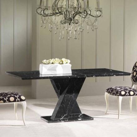 Mesa de jantar feita em mármore preto, design clássico, 200x100 cm Byron