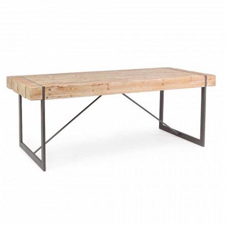 Mesa de madeira de abeto estilo industrial Homemotion - Wallie