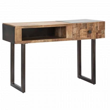 Mesa consolas de ferro e madeira de acácia com gaveta Design - Dena