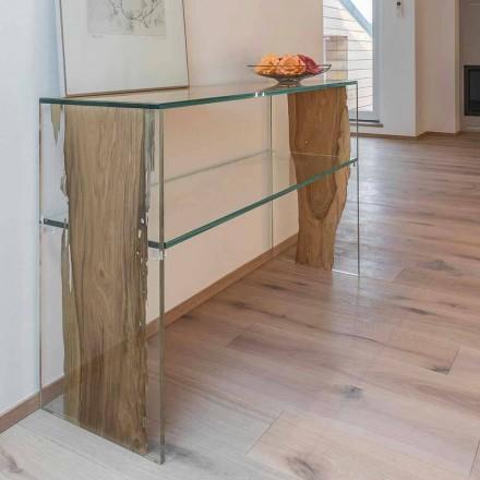 Console de mesa Fenice, feito de madeira de briccola veneziano e vidro