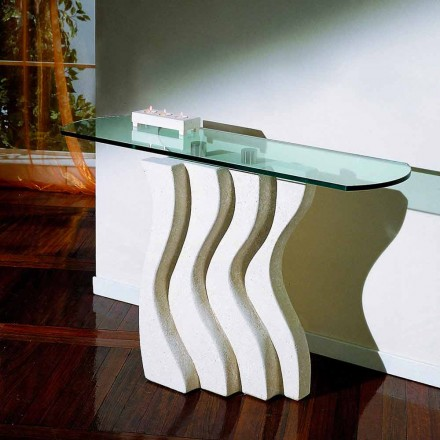 Vicenza pedra natural e mesa de console de cristal Ciril, design clássico