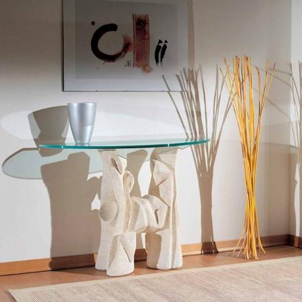 Mesa de console de pedra natural Vicenza clássica com tampo de cristal Dios