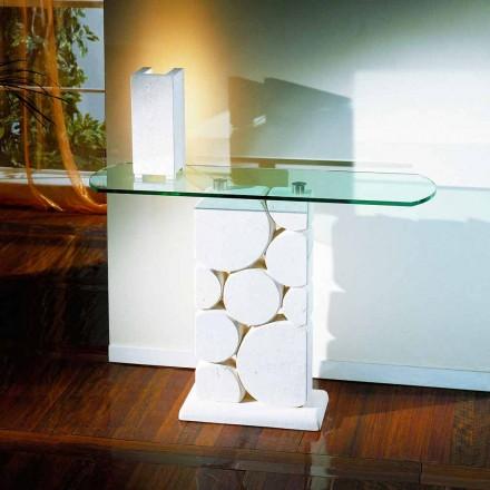 Mesa de console clássico feito de pedra natural Vicenza e cristal Hosios
