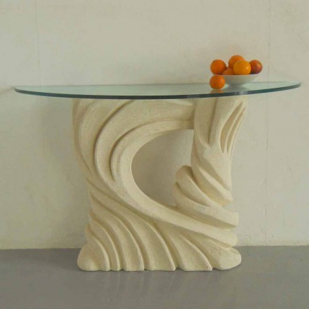 Mesa de console feita de pedra natural Vicenza com tampo de cristal Emera
