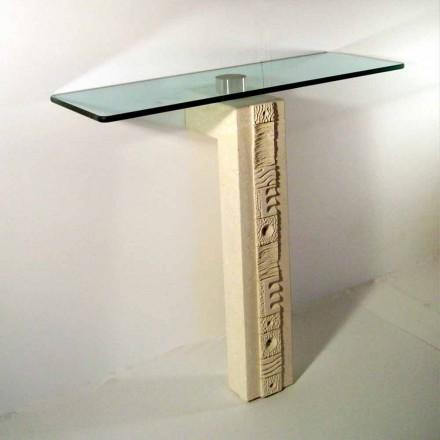 Mesa de console feita de pedra natural Vicenza com tampo de cristal Abidos
