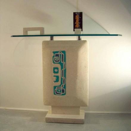 Mesa de console com tampo de cristal e base de pedra natural Vicenza Soter