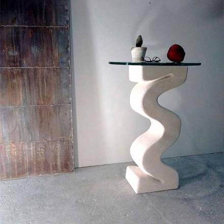 Mesa de console redonda feita de cristal e pedra natural Vicenza Babylas