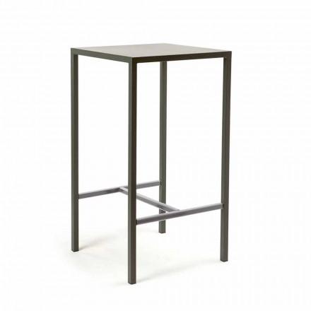 Mesa de Bar Quadrada de Metal Pintada para Exterior, fabricada em Itália - Fada