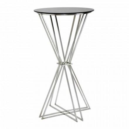 Mesa de Bar Redonda de Design Moderno em Ferro e Vidro - Benita
