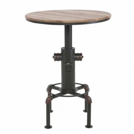 Mesa redonda de estilo industrial em ferro e madeira - Niv
