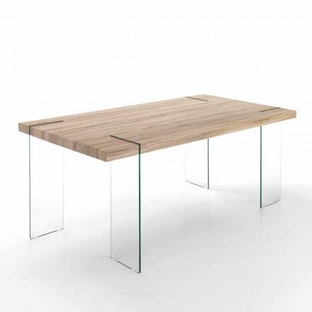 Mesa de cozinha moderna com tampo e base em vidro MDF - Joey