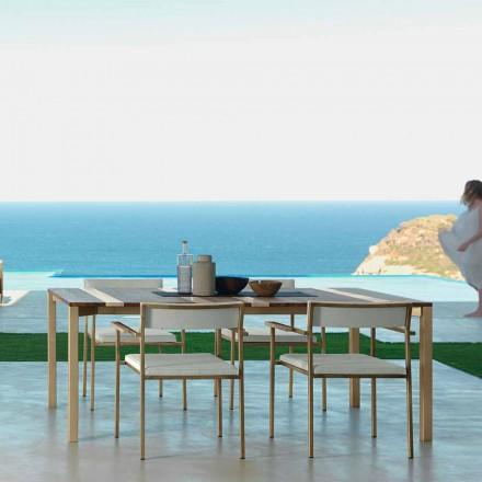 Mesa de madeira ao ar livre Casilda 200x100 cm, com estrutura de aço inoxidável