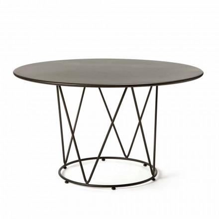 Mesa ao ar livre moderna redonda em metal pintado fabricado na Itália - Ibra
