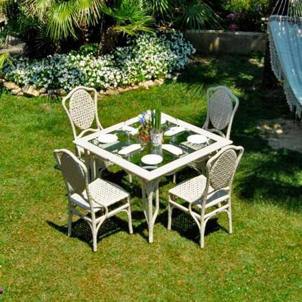 Mesa de jardim feita à mão Romeo, com tampo de vidro