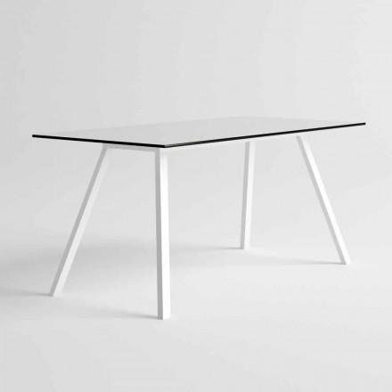 Mesa de jardim em alumínio branco e design moderno laminado em HPL - Oceania2