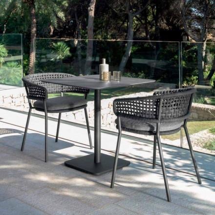 Moon Alu mesa de jardim moderna por Talenti, 80x80 com cerâmica
