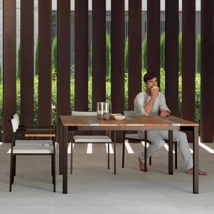 Mesa de madeira ao ar livre Casilda com moldura de aço inoxidável, 150x150 cm
