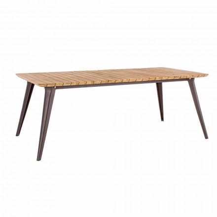 Tampo para mesa de madeira de teca e base de alumínio para homemotion - Amabel