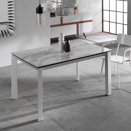 Mesa de jantar extensível com efeito mármore de mármore Nosate