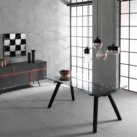 Mesa extensível até 260 cm, plano de vidro e freixo Empoli
