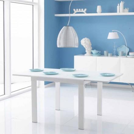 Mesa extensível de jantar Teo, com tampo de mesa em vidro