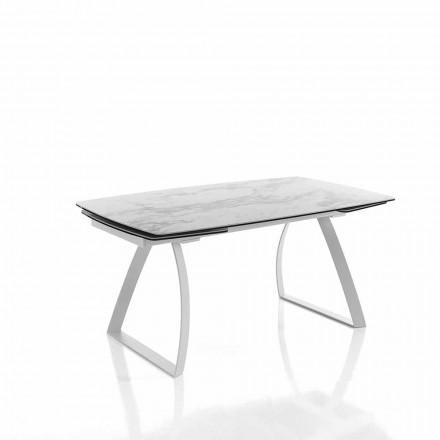 Mesa de jantar extensível em cerâmica vidrada - Willer