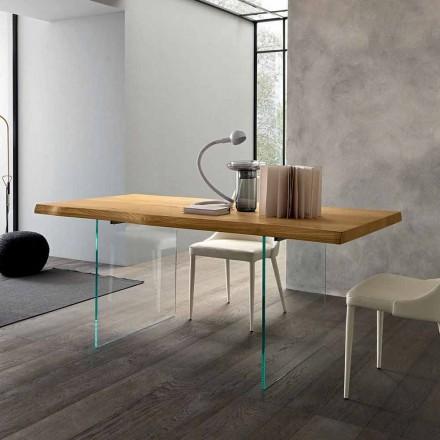Mesa de Jantar Extensível Até 280 cm em Madeira e Vidro Made in Italy - Focus