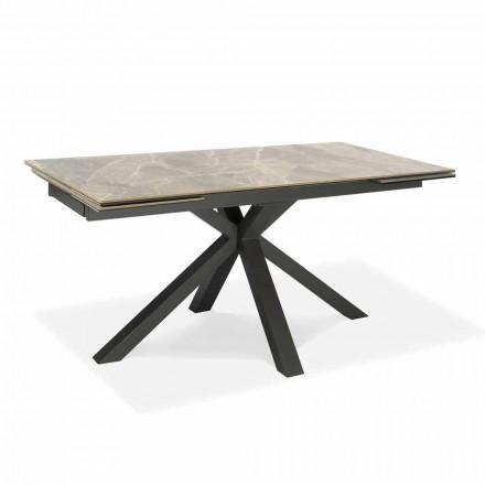Mesa de Jantar Extensível Até 240 cm em Metal e Cerâmica - Laryssa