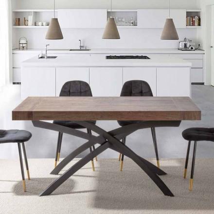 Mesa de Jantar Extensível Até 260 cm em Madeira Melamina e Metal - Lukas