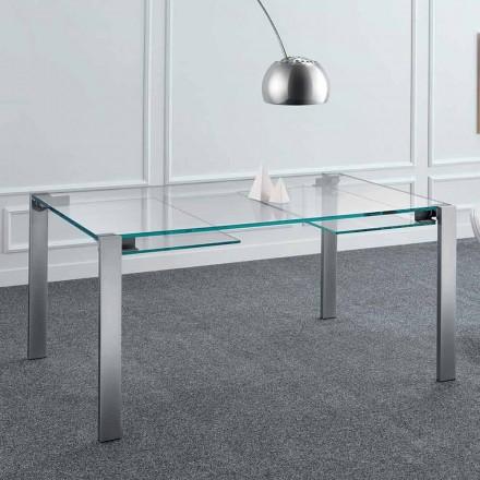 Mesa de jantar extensível em vidro e metal extraleve fabricada na Itália - Sopot