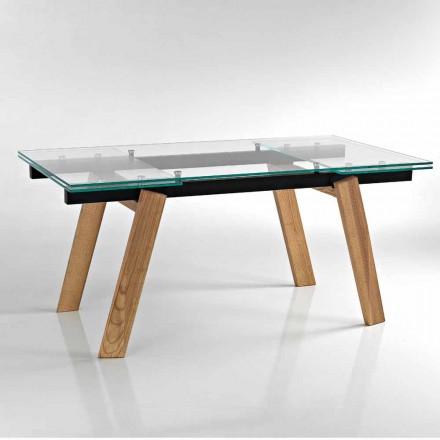 Moderna mesa de jantar extensível em vidro feito na Itália, Azad