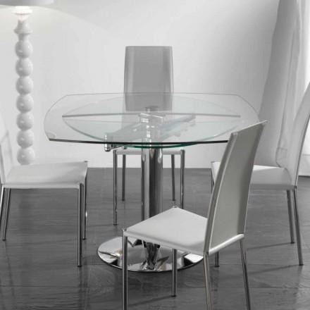 Mesa de jantar extensível de vidro temperado transparente Onda