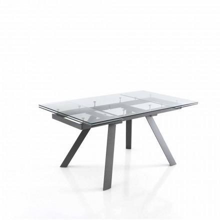 Mesa de jantar extensível até 240 cm em vidro - Basilea