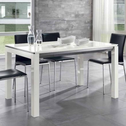 Mesa de jantar extensível Branco de madeira de nogueira de Tanganika lustroso envernizado - Ketla