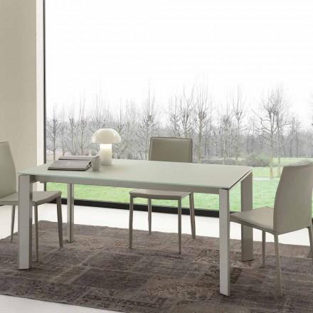 Mesa de jantar extensível, tampo de vidro temperado - Faleria