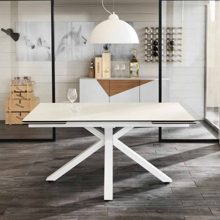 Mesa de jantar extensível em vitrocerâmica, l.160 / 240xp.90 cm, Bacco