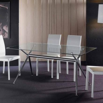 Mesa de jantar moderna Thor, com tampo de vidro temperado transparente