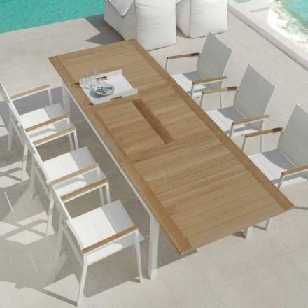 Mesa de jantar extensível para jardim em madeira teca