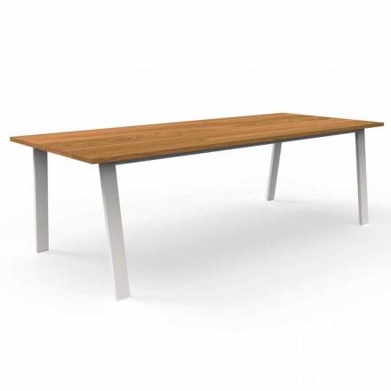 Mesa de jantar de jardim em madeira e alumínio Iroko - Casa de campo por Talenti