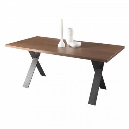 Mesa de jantar de design com tampo de carvalho ou madeira de nogueira Made in Italy - Lucas